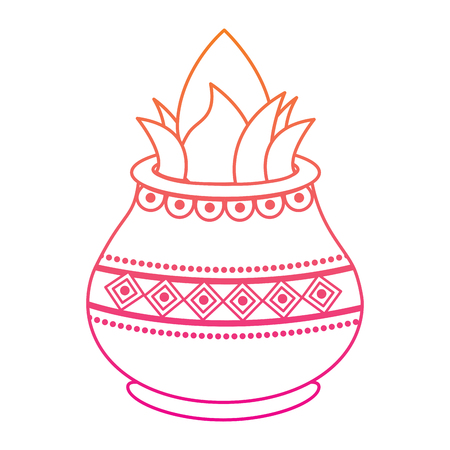 vessel with coconut leaves for hindu ritual purna kalasha vector illustration red degraded line image