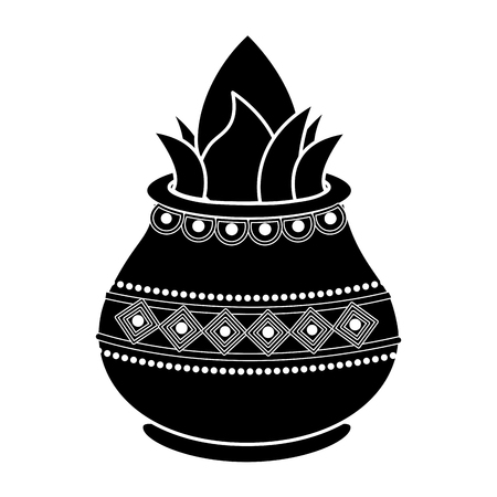 vessel with coconut leaves for hindu ritual purna kalasha vector illustration pictogram image
