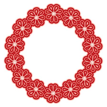wreath nature flower decoration frame vector illustration red line color image Illustration