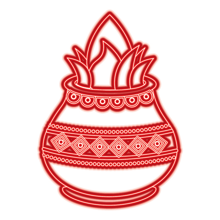 vessel with coconut leaves for hindu ritual purna kalasha vector illustration red line color image