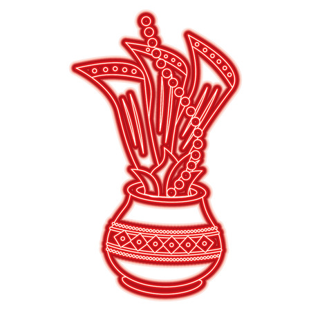 hindu pot with cloth leaves decoration culture vector illustration red line color image