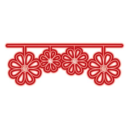 decorative natural neem flower hanging vector illustration red line color image