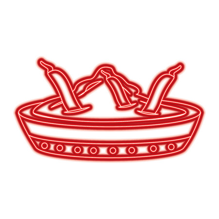 ボウルスパイス唐辛子成分調味料ベクトルイラスト赤線色画像