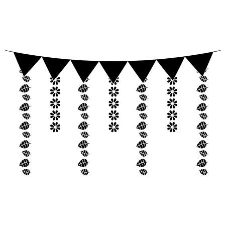 装飾的な花輪は花と葉ぶら下がりベクトルイラストをフラグ