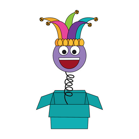 joke box prank smile with jester hat fools party vector illustration Stock Vector - 95182398