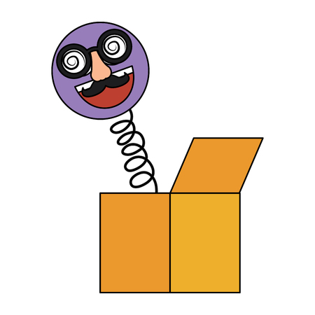 Joke box emoticon with glasses and nose prank vector illustration Çizim
