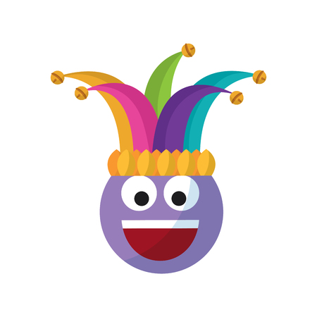 Happy emoticon smile jester hat funny vector illustration Stock Vector - 95251734