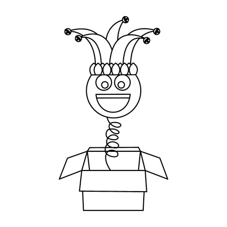 Joke box prank smile with jester hat fools party vector illustration outline image
