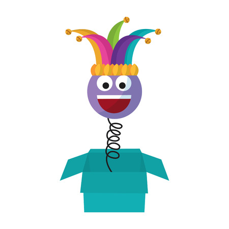 Joke box prank smile with jester hat fools party vector illustration
