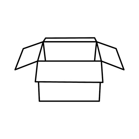 open cardboard box packaging storage vector illustration outline image