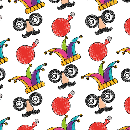 april fools mask jester hat and whoopee cushion background vector illustration
