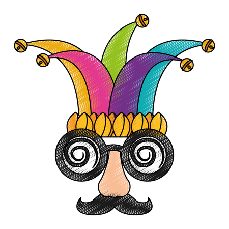 funny mask silly glasses mustache and jester hat fools celebration vector illustration color drawing design