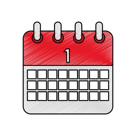 celebration calendar first planning date vector illustration color drawing design