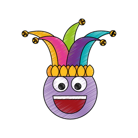 happy emoticon smile jester hat funny vector illustration color drawing design Illustration