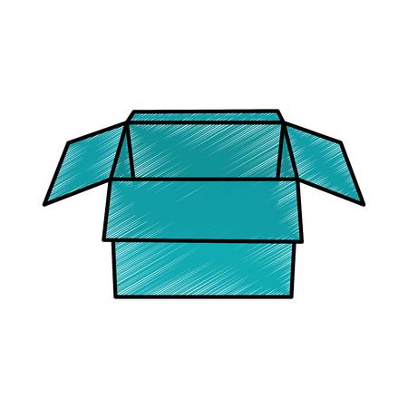 open cardboard box packaging storage vector illustration color drawing design Ilustração