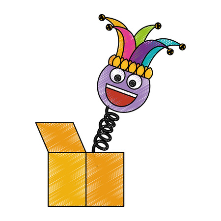 joke box smile emoticon jester hat cheerful vector illustration color drawing design
