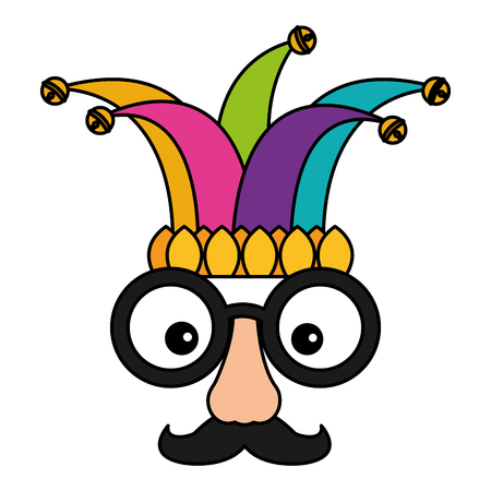 fake mask glasses mustache and jester hat vector illustration