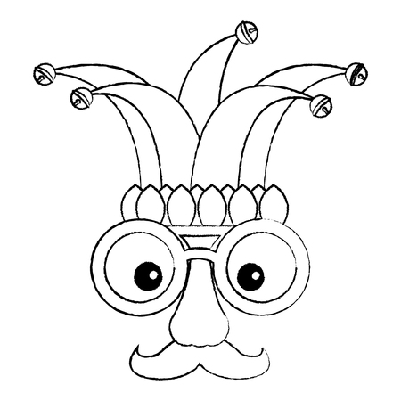 fake mask glasses mustache and jester hat vector illustration sketch design