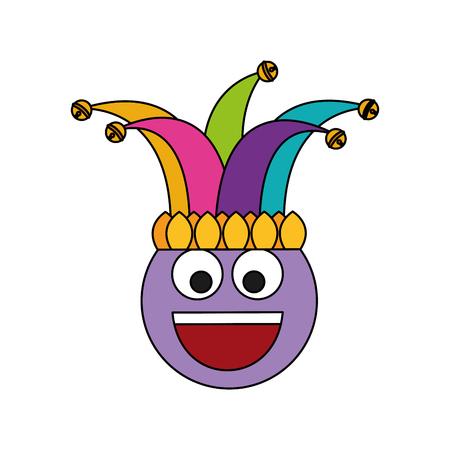 happy emoticon smile jester hat funny vector illustration Иллюстрация