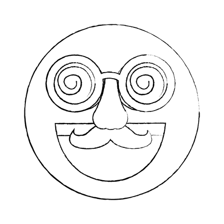 fake smile emoticon with mustache and silly glasses vector illustration sketch design