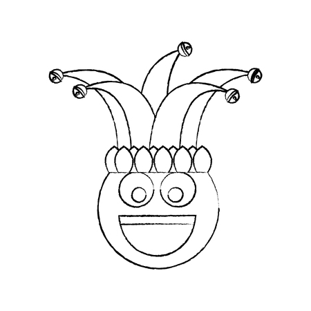 happy emoticon smile jester hat funny vector illustration sketch design