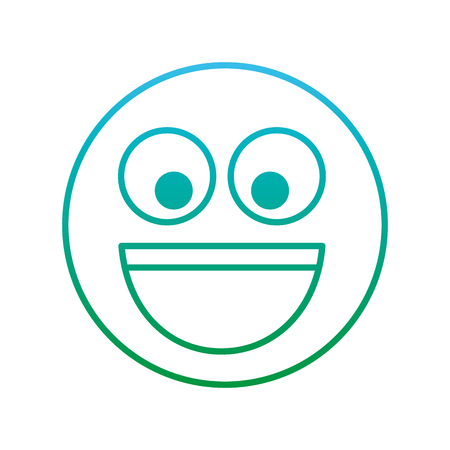 smile emoticon laughing happy icon vector illustration blue and green degrade line Illustration