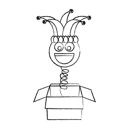 joke box prank smile with jester hat fools party vector illustration sketch design Ilustração