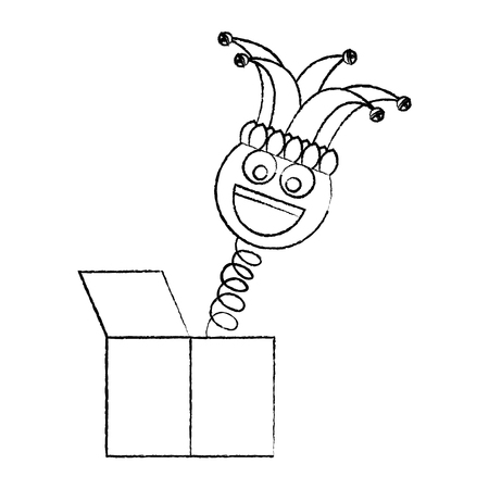 joke box smile emoticon jester hat cheerful vector illustration sketch design