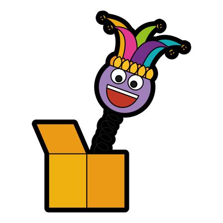 joke box smile emoticon jester hat cheerful vector illustration Ilustração