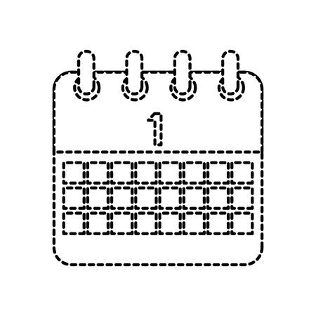 celebration calendar first planning date vector illustration dotted line design