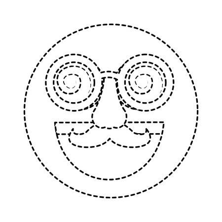fake smile emoticon with mustache and silly glasses vector illustration dotted line design Çizim
