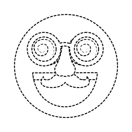 fake smile emoticon with mustache and silly glasses vector illustration dotted line design Ilustração