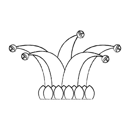 jester hat with bells clothes funny vector illustration sketch design