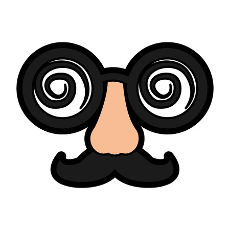 crazy glasses mustache nose mask carnival vector illustration Ilustração