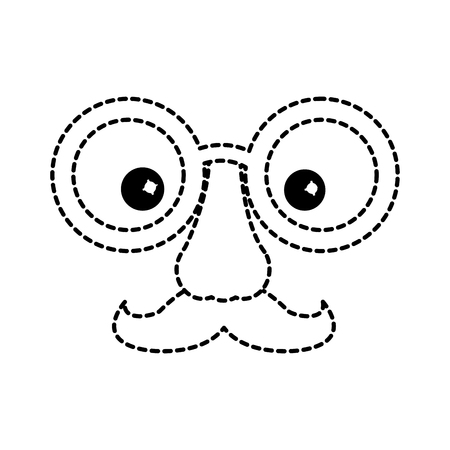 funny fake mask made of glasses mustache and nose vector illustration dotted line design Ilustracja