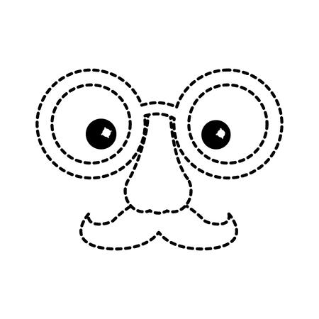 funny fake mask made of glasses mustache and nose vector illustration dotted line design Illustration