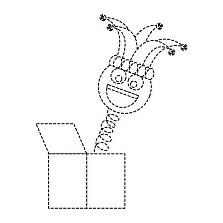 joke box smile emoticon jester hat cheerful vector illustration dotted line design