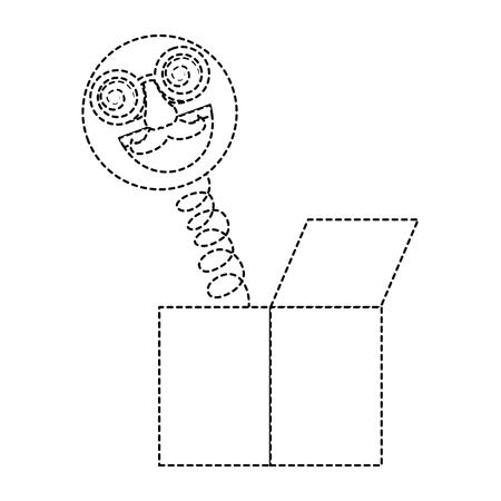 joke box emoticon with glasses mustache and nose prank vector illustration dotted line design Ilustração