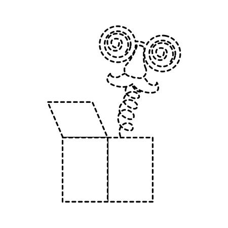 joke box crazy glasses nose mustache surprise icon vector illustration dotted line design