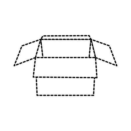 open cardboard box packaging storage vector illustration dotted line design Ilustração