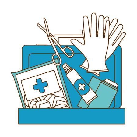 Medizinische Kit mit Bandagen und Handschuhen Vektor-Illustration Design Standard-Bild - 95200682
