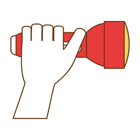hand with flash light isolated icon vector illustration design