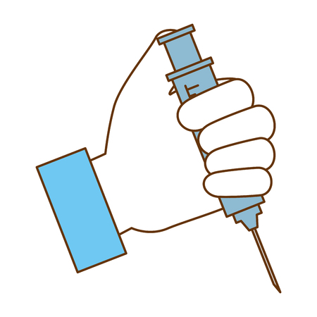 doctor hand with injection medical vector illustration design Stock Illustratie