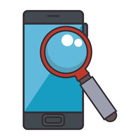 smartphone with magnifying glass vector illustration design Illustration