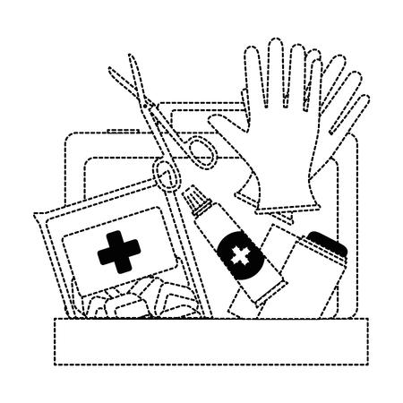 Medizinische Kit mit Bandagen und Handschuhen Vektor-Illustration Design Standard-Bild - 95205974