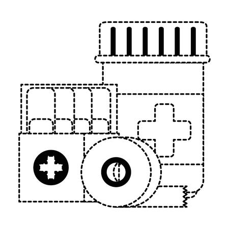 medicine bottle with bandages vector illustration design Ilustração