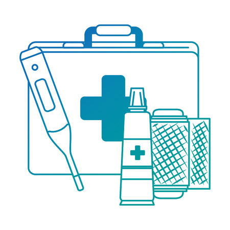 medical kit with thermometer and bandages vector illustration design