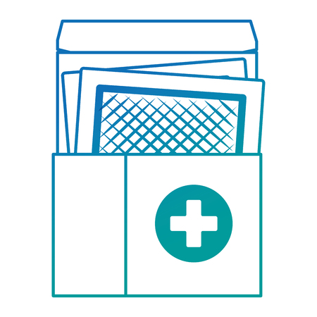 medical box with medicinal patches vector illustration design