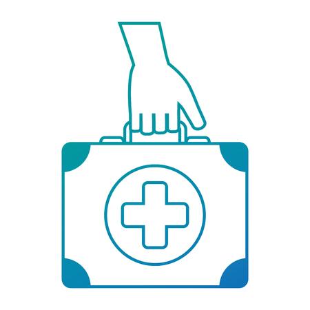 hand with medical kit vector illustration design