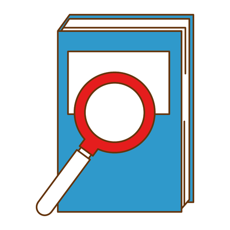 text book with magnifying glass vector illustration design